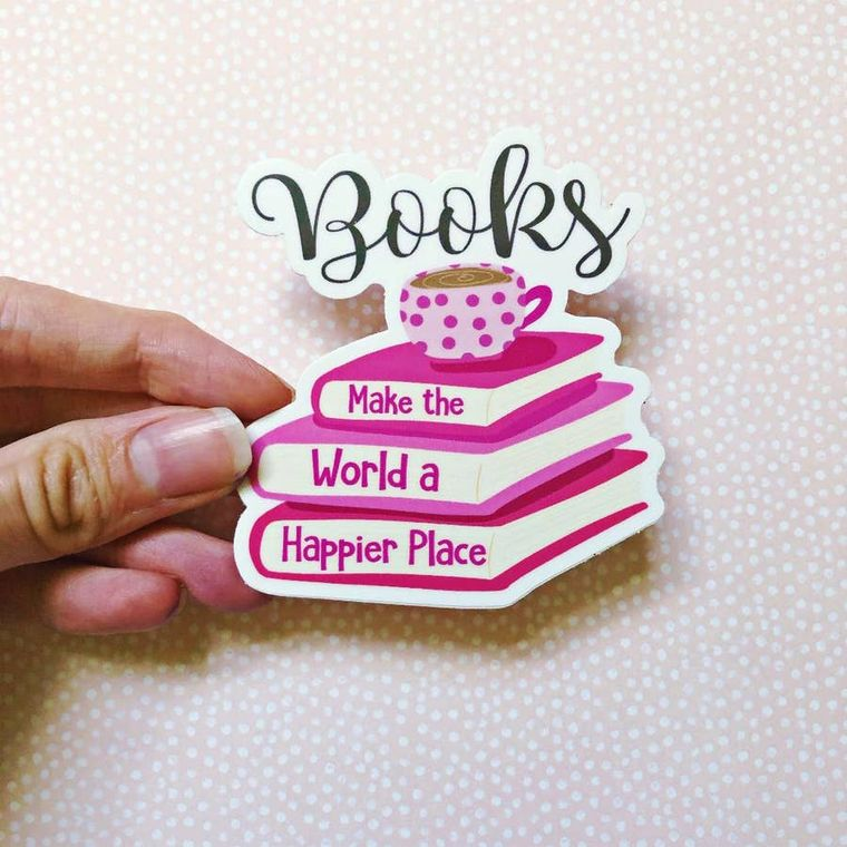 Books Make the World a Happier Place Vinyl Decal Sticker
