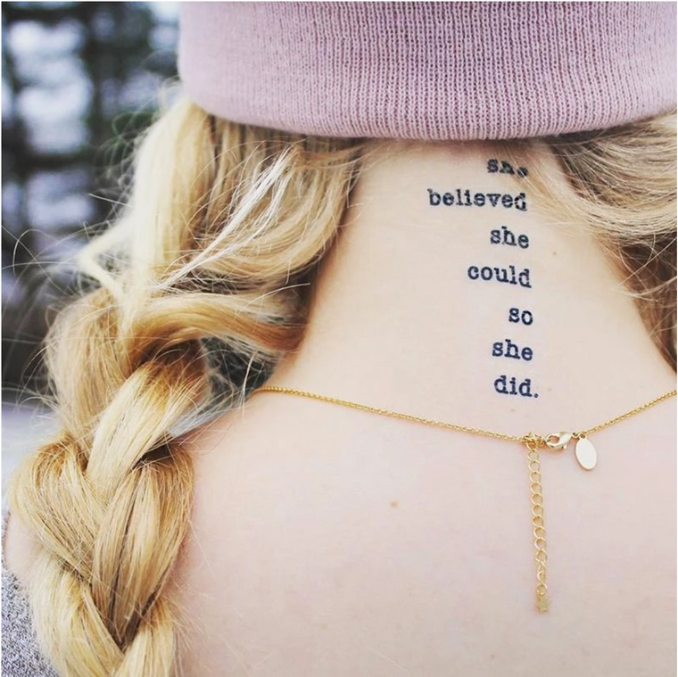 """she believed she could so she did"" Manifestation Tattoo 2-Pack"
