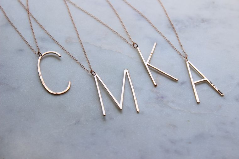 Rose Gold Large Initial Necklace, Large Letter Necklace