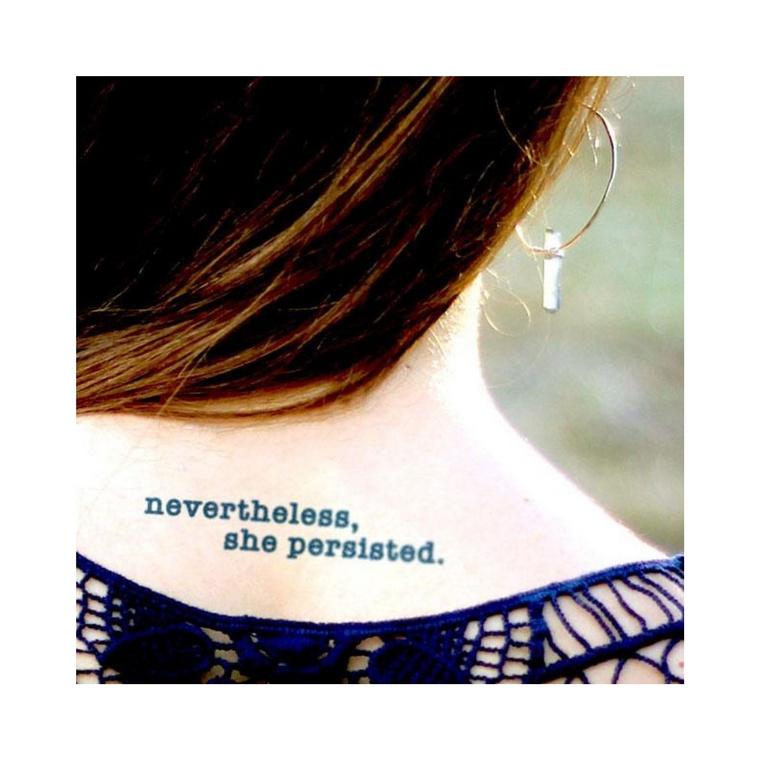 """nevertheless she persisted"" Manifestation Tattoo 2-Pack"