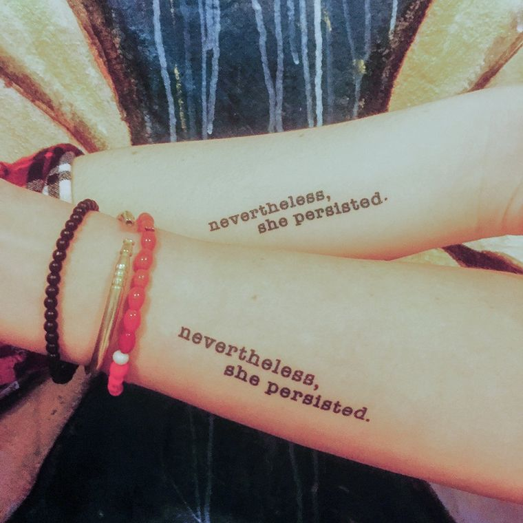 """nevertheless she persisted"" Manifestation Tattoo 2-Pack"