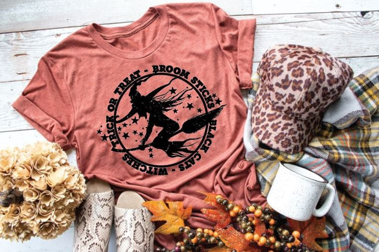 Trick Or Treat Witch Circle Adult Tee