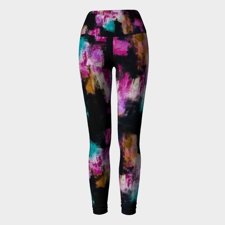 Black Aqua Pink Yoga Leggings