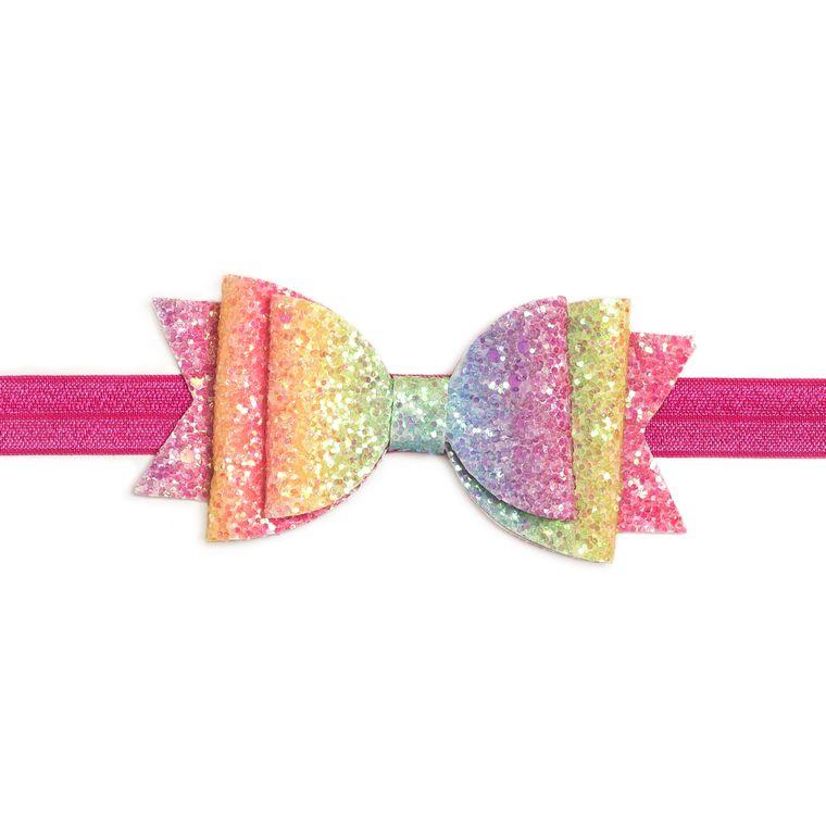 Rainbow Glitter Bow Soft Headband - Hot Pink