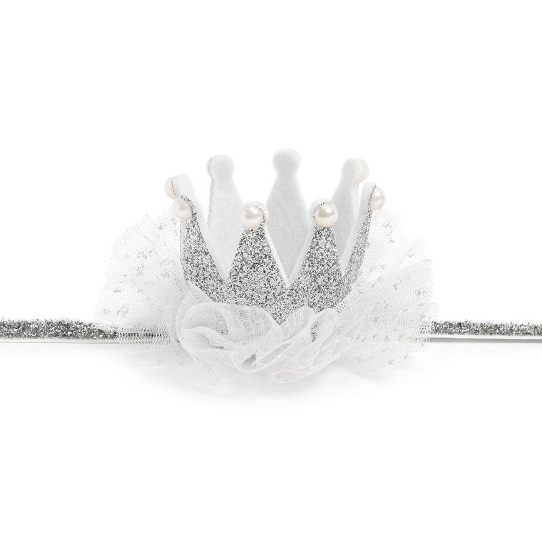 Glitter Crown Soft Headband - Silver