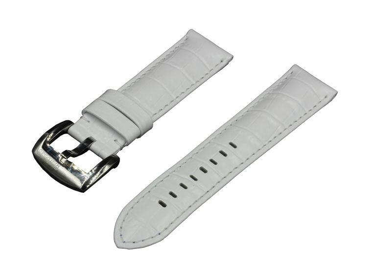 SWISS REIMAGINED Watch Band White Leather Polished Stainless Steel Buckle 24mm