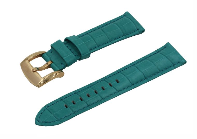 SWISS REIMAGINED Watch Band Crocodile Grain Leather Polished Rose Gold Buckle