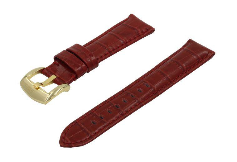 SWISS REIMAGINED Watch Band - Crocodile Grain Leather - Polished Gold Buckle