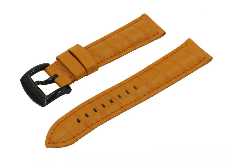 SWISS REIMAGINED Watch Band - Crocodile Grain Leather - Polished Black Buckle