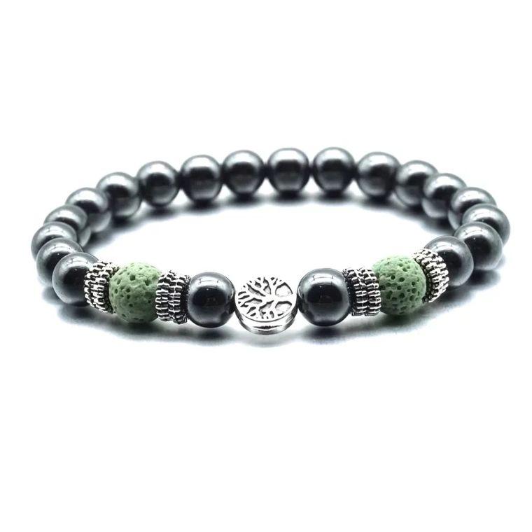 Green Tree of Life Lava Stone Metal Bracelet