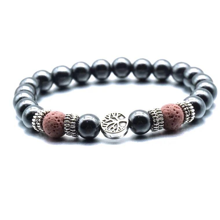Pink Tree of Life Lava Stone Metal Bracelet