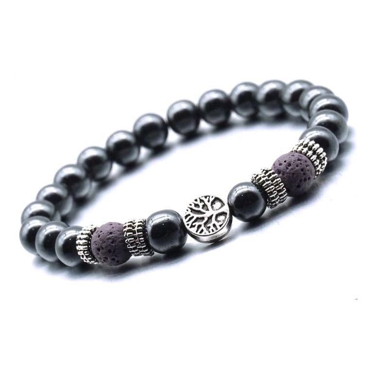 Violet Tree of Life Lava Stone Metal Bracelet