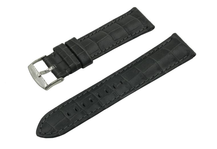 SWISS REIMAGINED Watch Band Croc Grain Leather Polished Stainless Steel Buckle