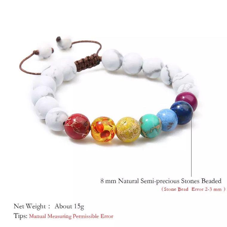 7 Chakra and Healing White Stone Braided Bracelet