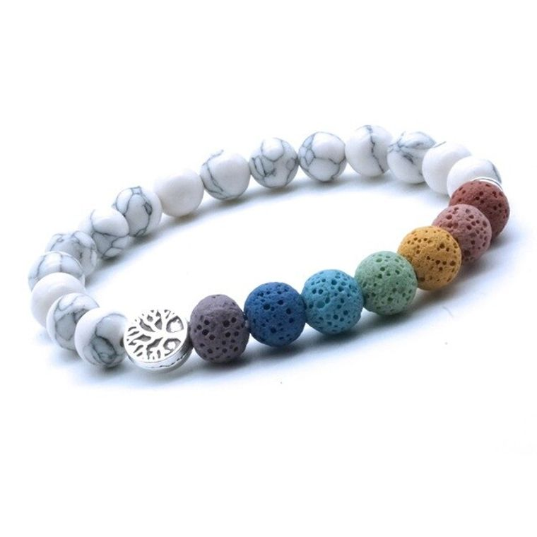 Tree of Life 7 Chakra Lava Stones and White Stone Bracelet