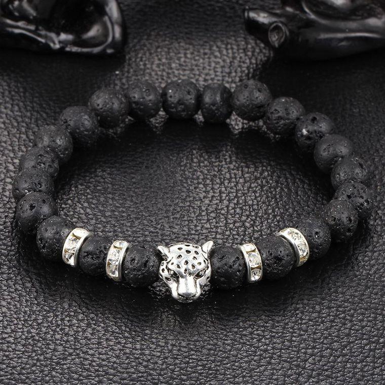 Silver Onyx Stone Leopard and Lava Stone Beads Men's Bracelet