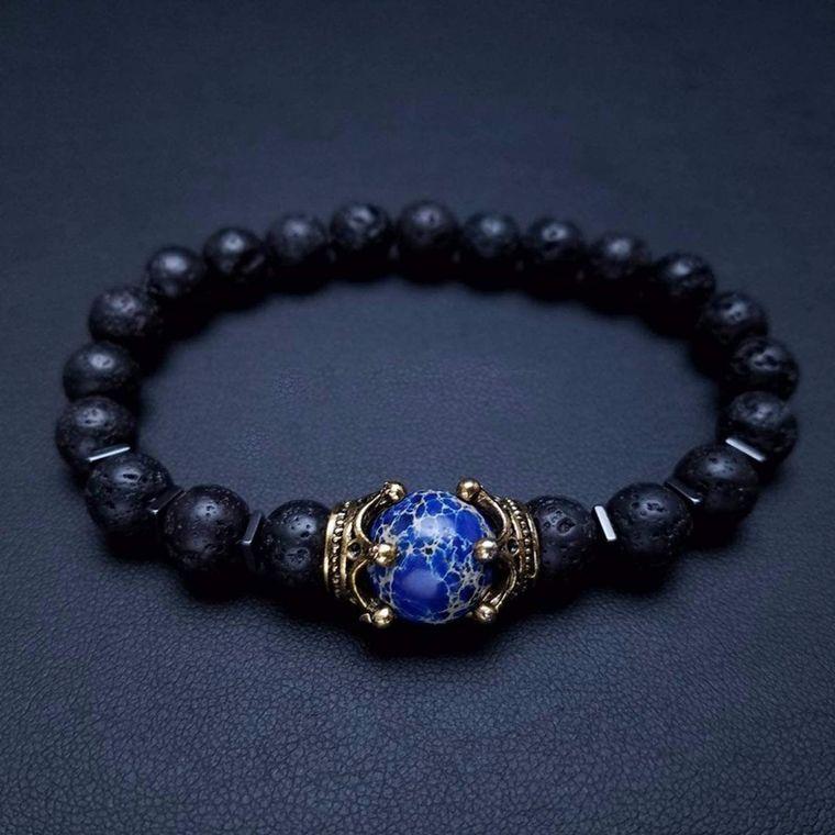Luxury Blue Tiger Eye Stone and Lava Stones Bracelet