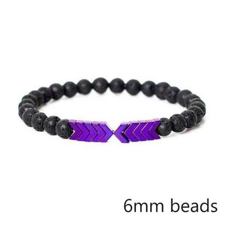 Purple Chromatic Moonstone Arrows and Lava Stones Bracelet