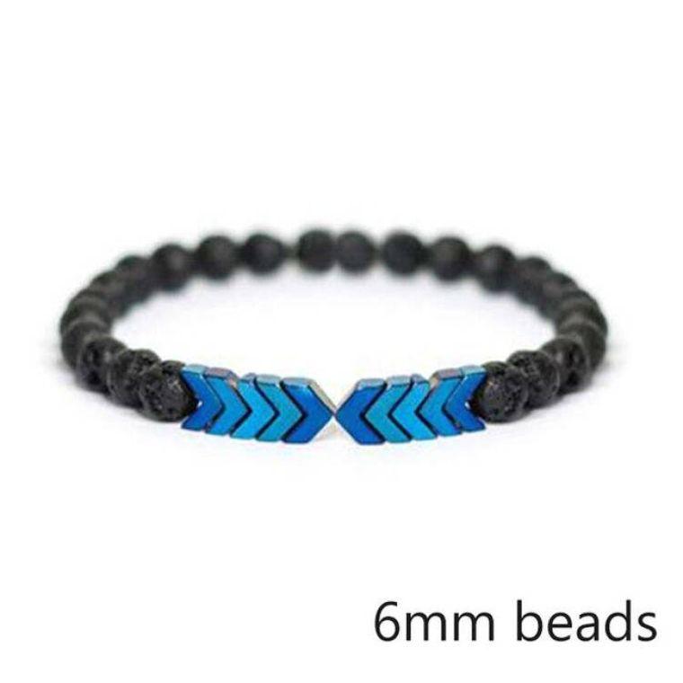 Blue Moonstone Arrows and Lava Stones Bracelet