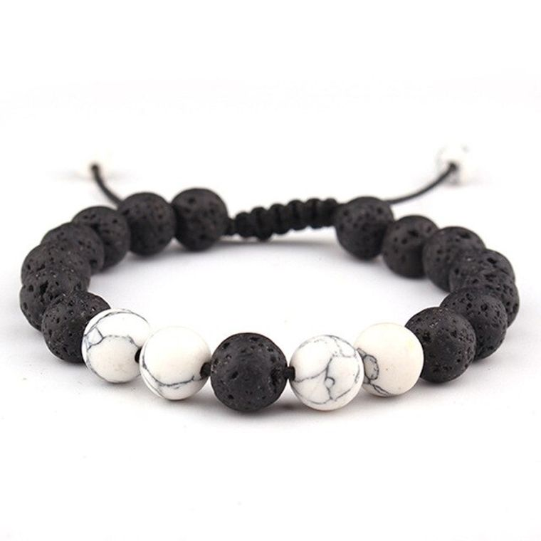 Adjustable Anxiety Diffusing Lava Stone Bracelet w/White Stones