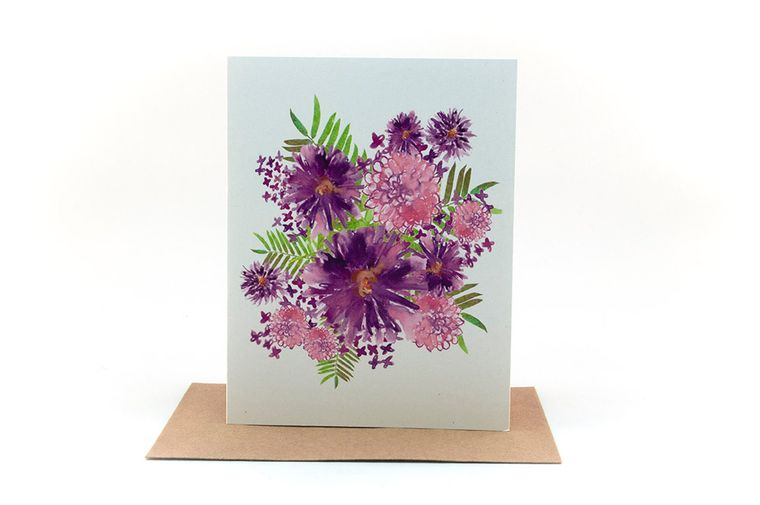 purple flowers and pink flowers floral bouquet | thinking of you card