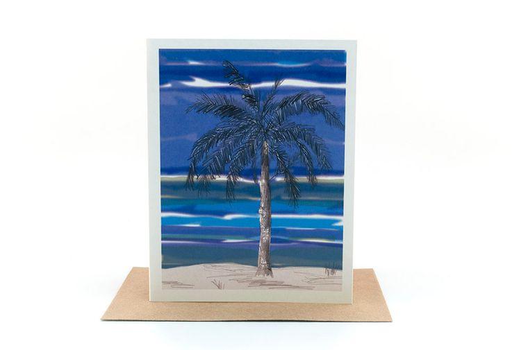 palm tree | beach christmas card | ocean view island