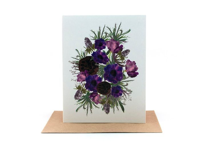 purple flowers and pods floral bouquet | sympathy card | friendship and love card