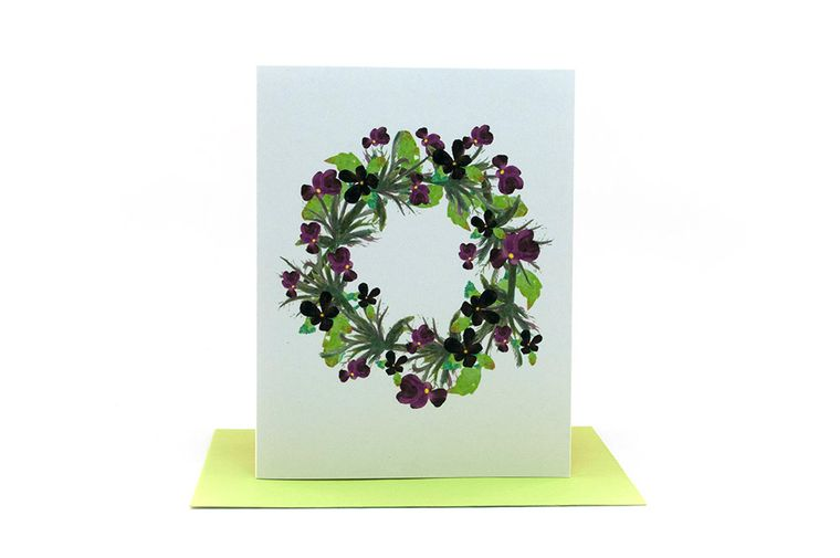 pansies floral wreath | sympathy cards | encouraging cards