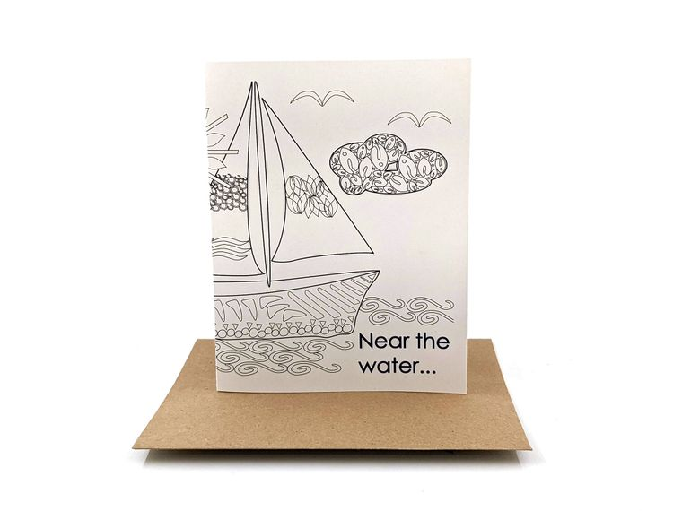 near the water | pen pal writing prompt | fill in the blank greeting card | finish the sentence
