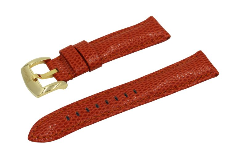 SWISS REIMAGINED Watch Band - Lizard Grain Leather - Polished Gold Buckle