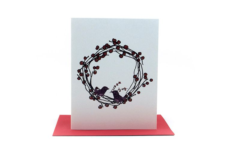 birds building a berry wreath | winter card | winter birds