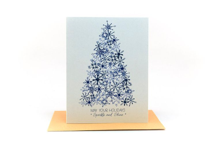let it snow | snow covered tree | may your holidays sparkle and shine