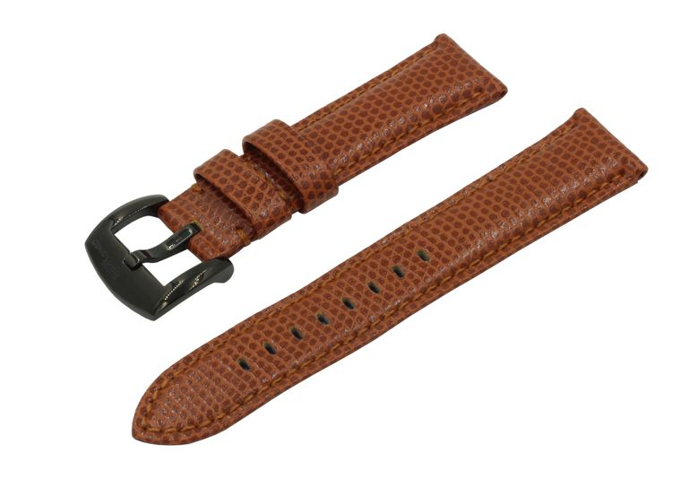 SWISS REIMAGINED Watch Band - Lizard Grain Leather - Polished Black Buckle