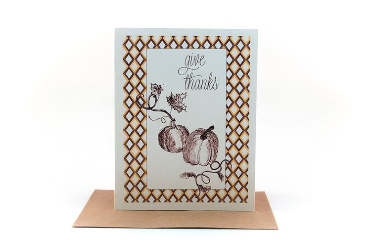 give thanks | pumpkin vine | fall greeting card | thanksgiving card | be thankful | be grateful