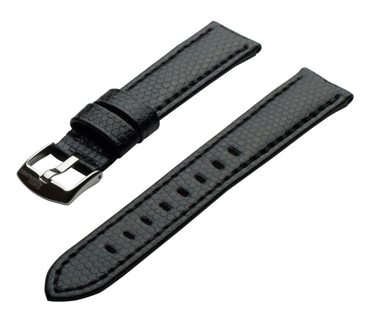 SWISS REIMAGINED Watch Band Lizard Grain Leather Polished Stainless Steel Buckle