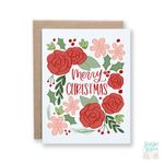 Floral Merry Christmas, Holiday Card