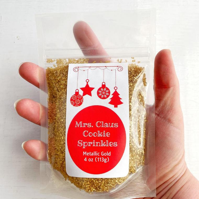 Mrs Claus Cookie Sprinkles - Metallic Gold sugar for Santa Christmas cookies