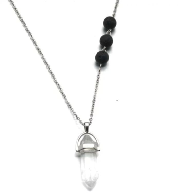 Quartz Crystal Lava Stone Necklace