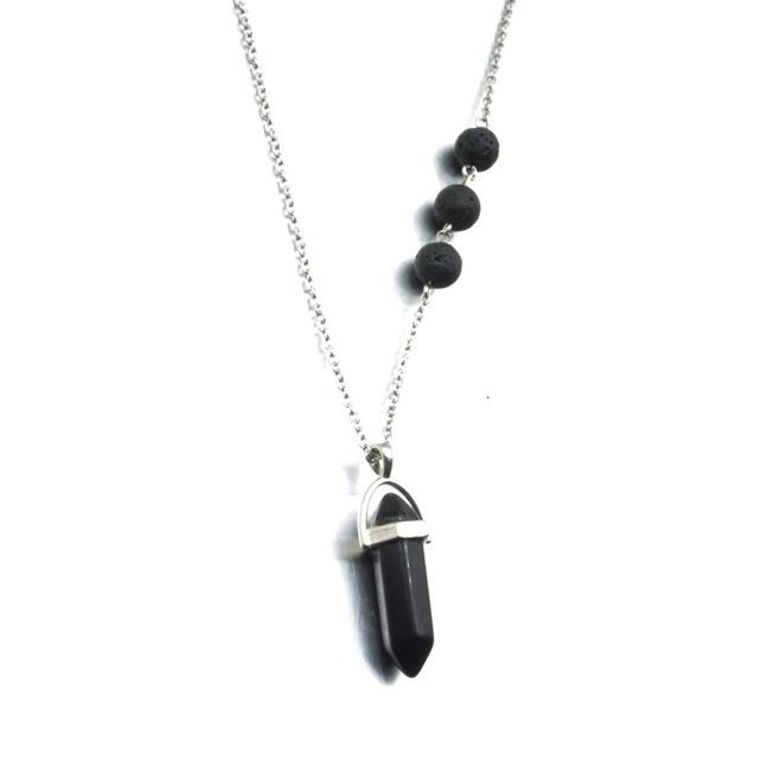 Obsidian Black Crystal Lava Stone Necklace