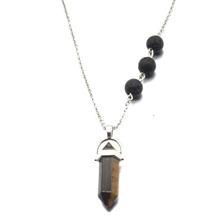 Eye of Tiger Crystal Lava Stone Necklace