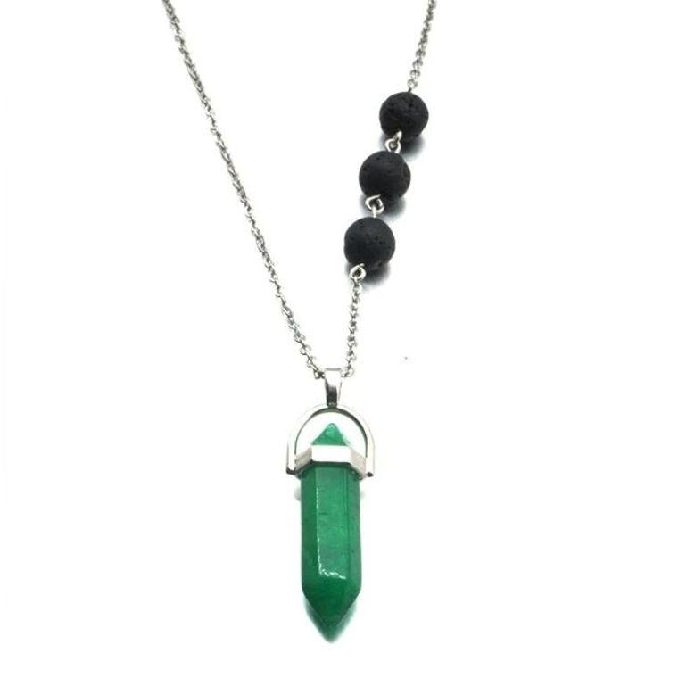 Verdite Green Crystal Lava Stone Necklace