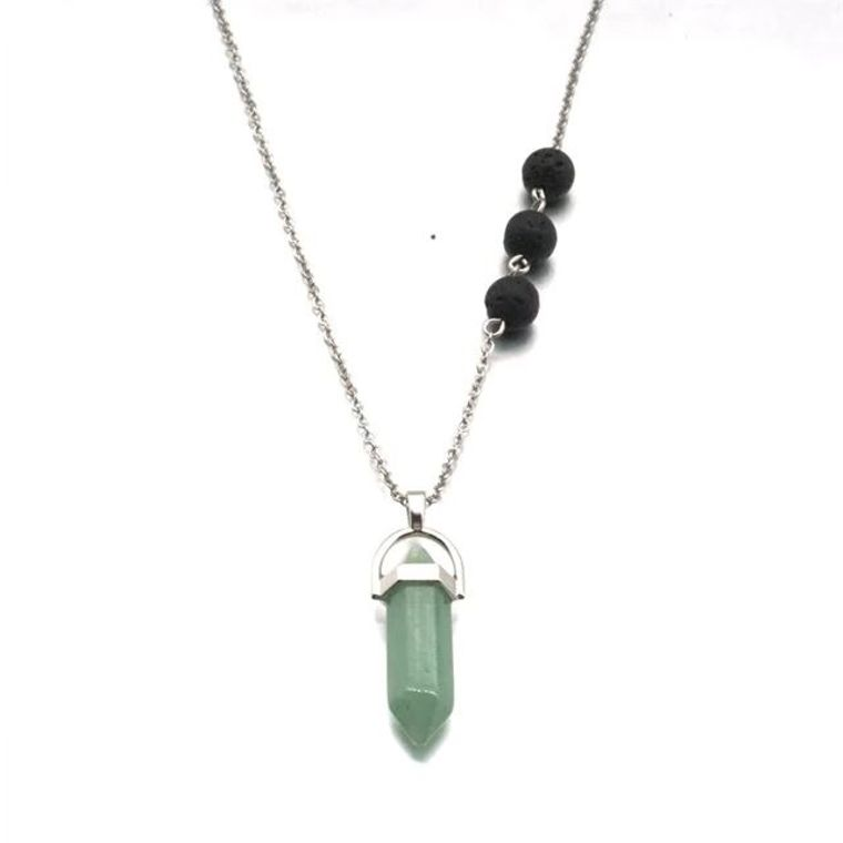 Calcite Light Green Crystal Lava Stone Necklace