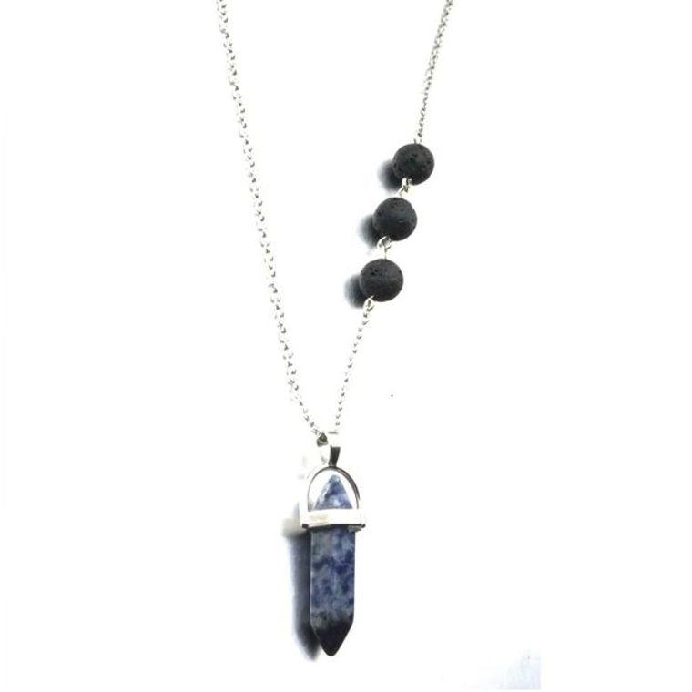 Lapis Lazuli Blue Crystal Lava Stone Necklace
