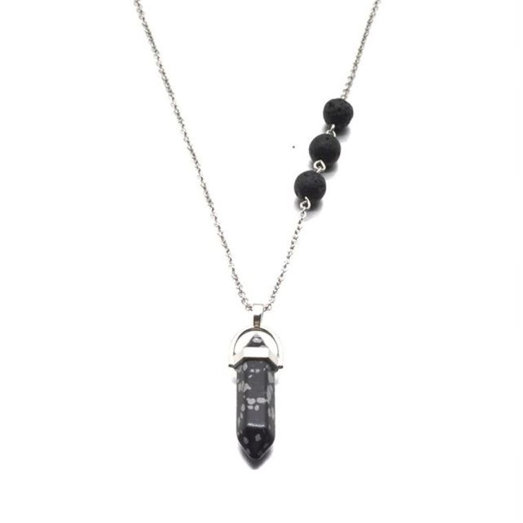 Snowflake Obsidian Black Crystal Lava Stone Necklace