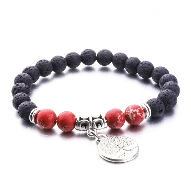 Red Marble Tree of Life Lava Stone Bracelet