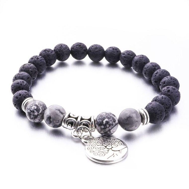 Grey Marble Tree of Life Lava Stone Bracelet
