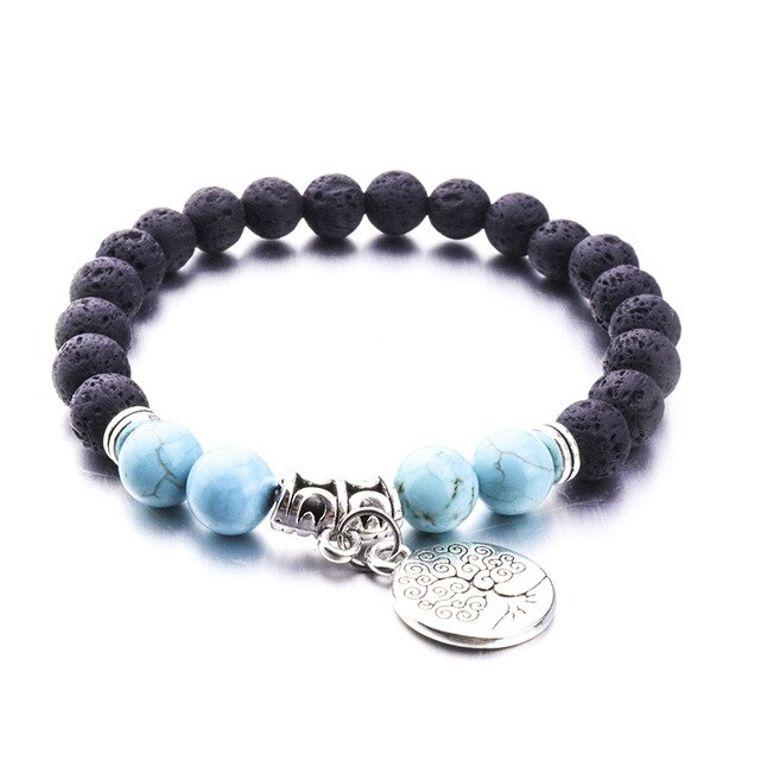 Turquoise Marble Tree of Life Lava Stone Bracelet