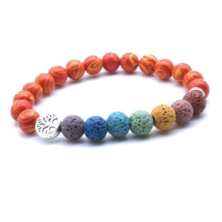 Tree of life Seven Chakra and Bright Reds Lava Stone Bracelet