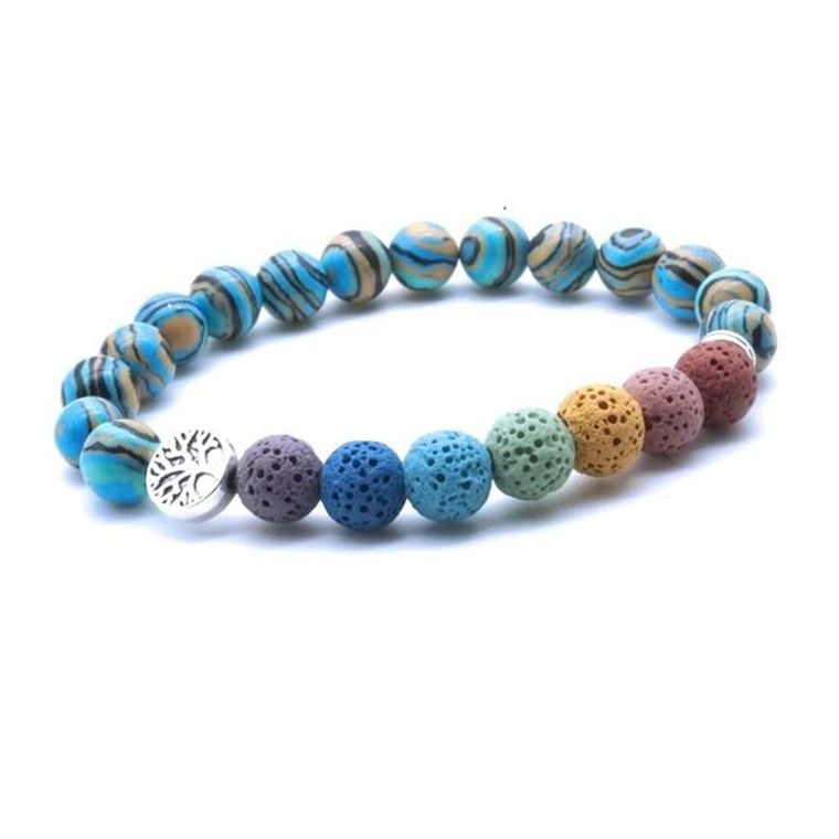 Tree of life Seven Chakra and Turquiose Brown Lava Stone Bracelet