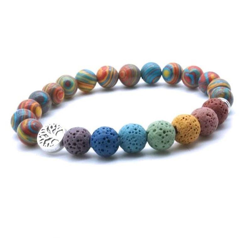 Tree of life Seven Chakra and Rainbow Beads Lava Stone Bracelet